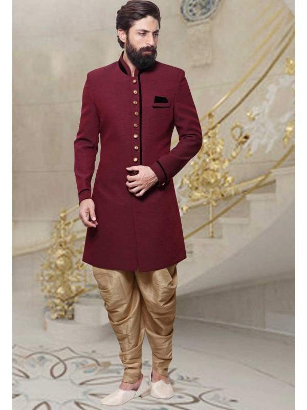 Men's Jute Fabric Maroon Color Men's Indo Western
