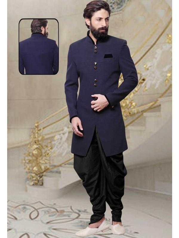 Blue Color Designer Indowestern Jute Fabric