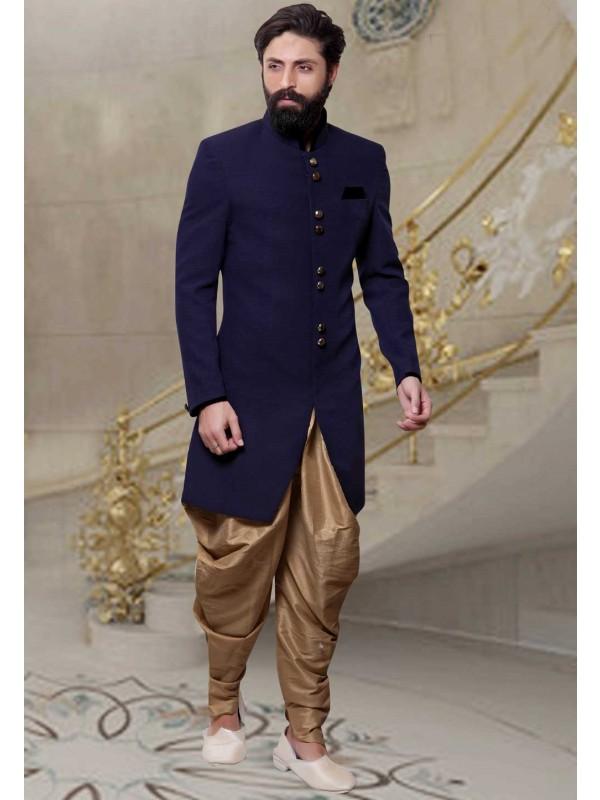 Jute Fabric Blue Color Men's Indo Western