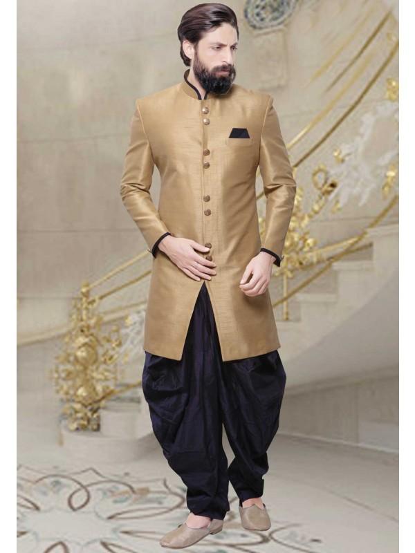 Beige Color Silk Fabric Men's Indo Western