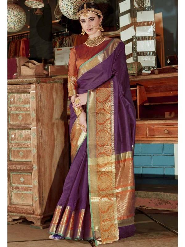 Women's Classic Looking Purple Color Silk Ethnic Saree