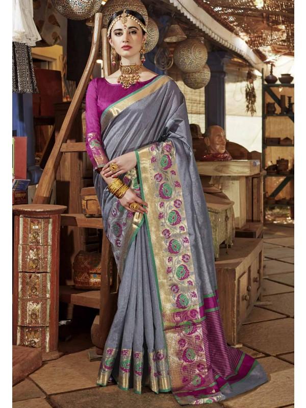 Printed Pallu Saree in Grey Color