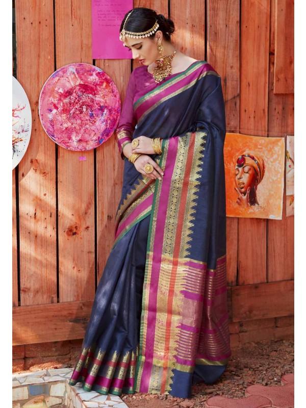 Blue Color Saree With Wonderful Printed Pallu