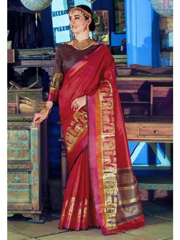 Nice Looking Maroon Color Silk Saree