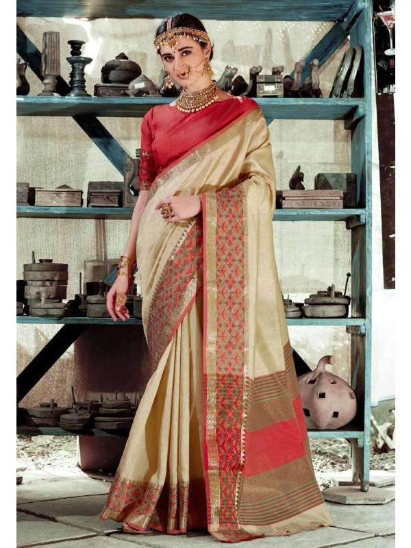 Beautiful Beige Color Printed Saree