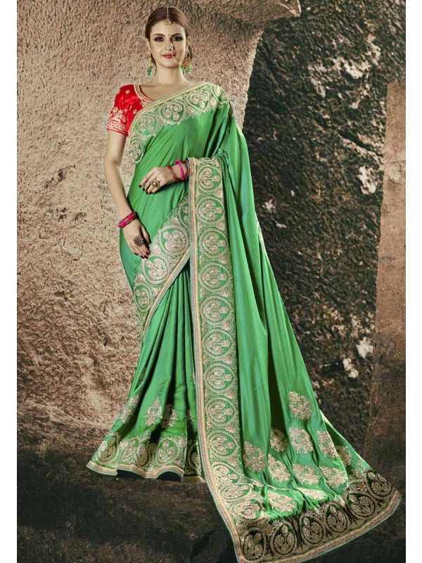 Classic Looking Green Color Chiffon Saree