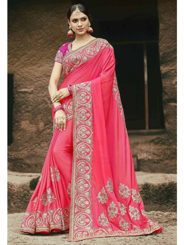Peach Color Chiffon Designer Saree