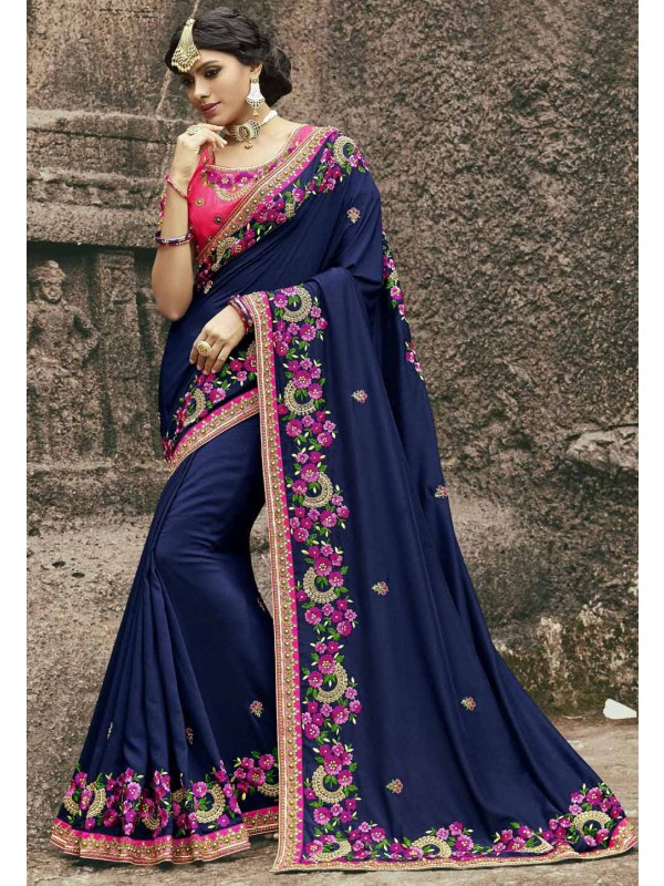 Attractive Looking Blue Color Designer Bridal saree