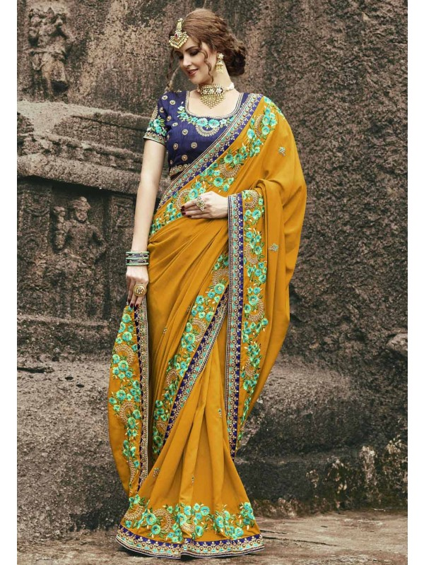 Beautiful Yellow Color Designer saree