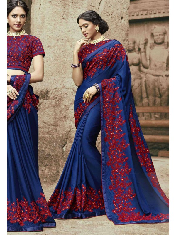 Nice Looking Blue Color Embroidered Saree