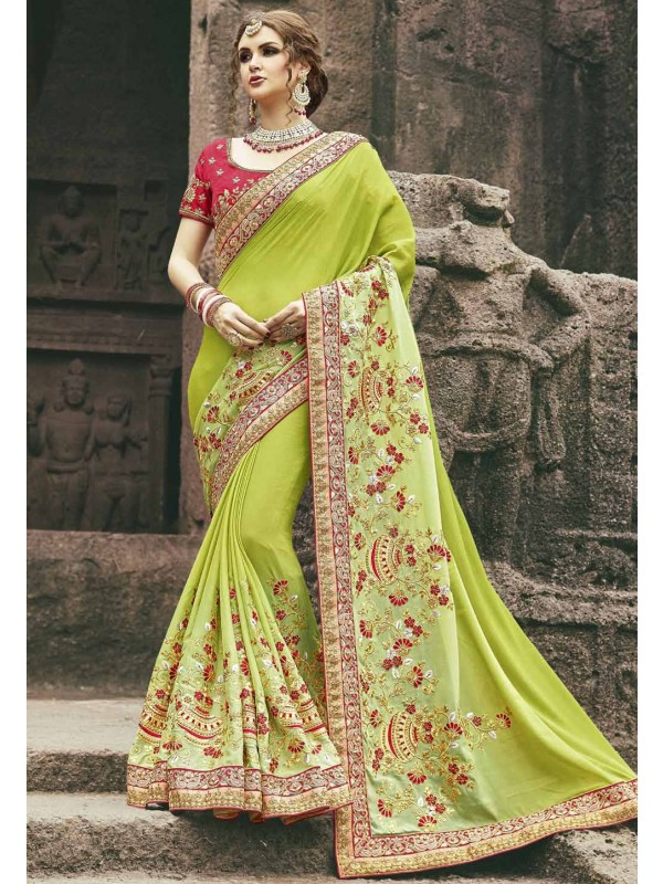 Classic Looking Chiffon Green Color Saree For Womens
