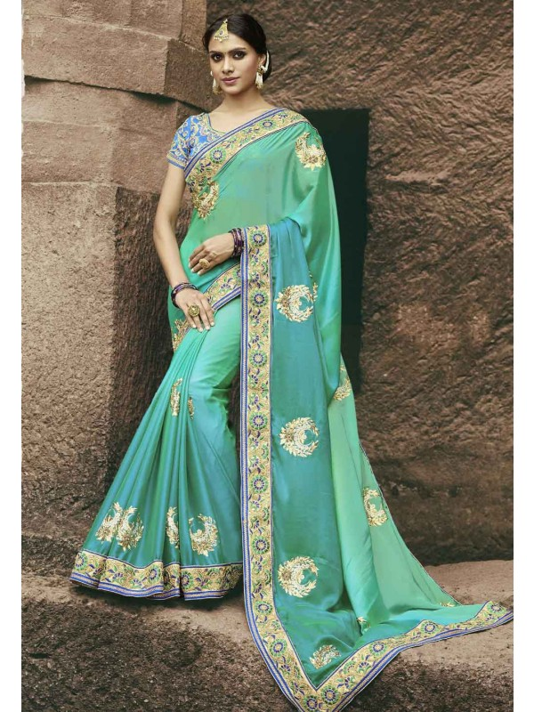 Green Color Chiffon Saree