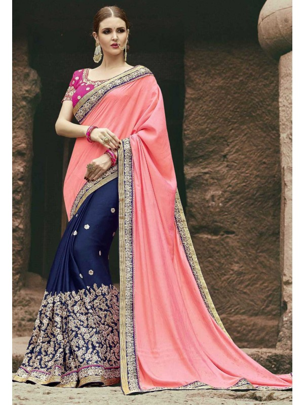 Astounding Peach,Blue Color Embroidered Saree