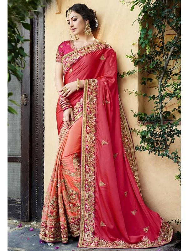 Designer Bridal Saree in Peach Color & Satin,Silk Fabric