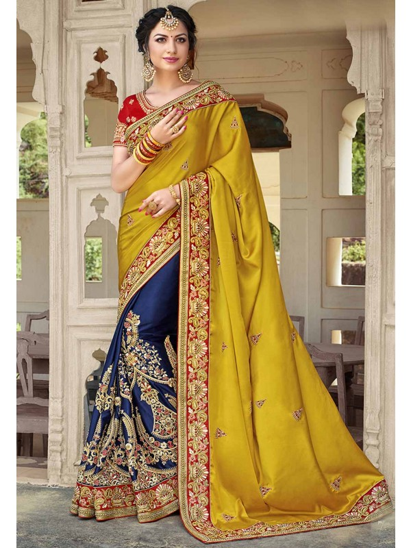 Embroidered Saree in Blue,Yellow Color