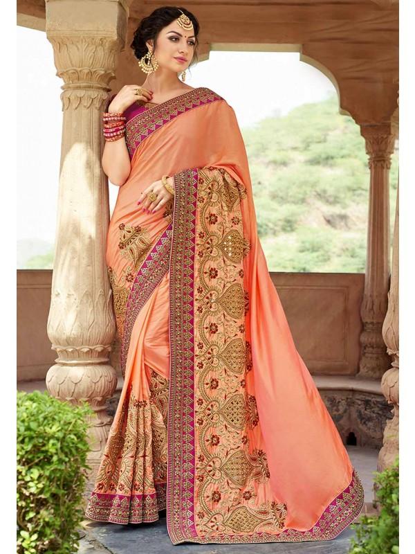 Peach Color Silk,Chiffon Saree