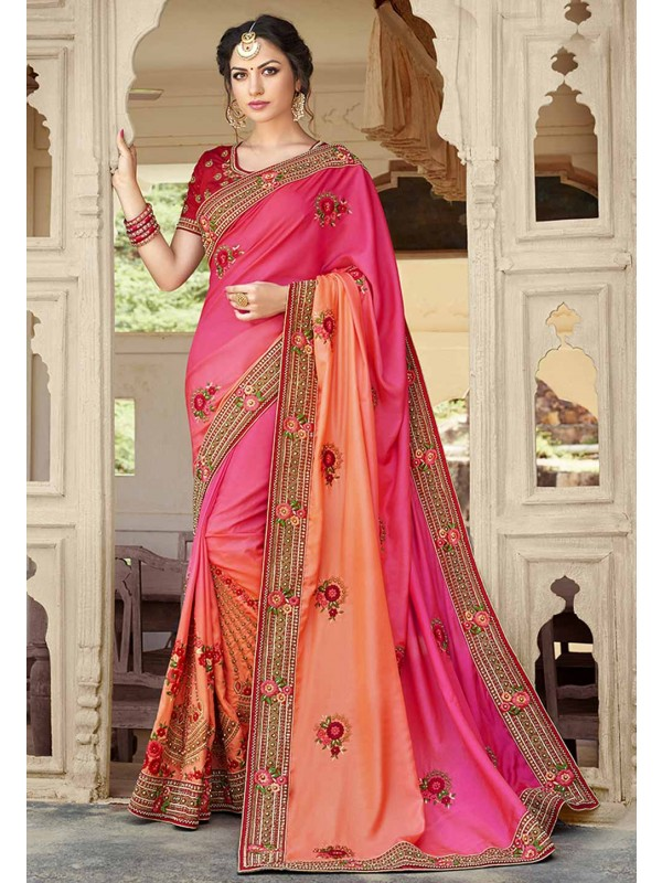 Embroidered Saree in Pink Color & Georgette Fabric
