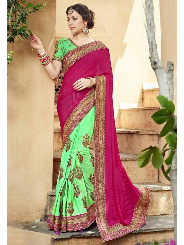 Green,Pink Color Georgette Saree