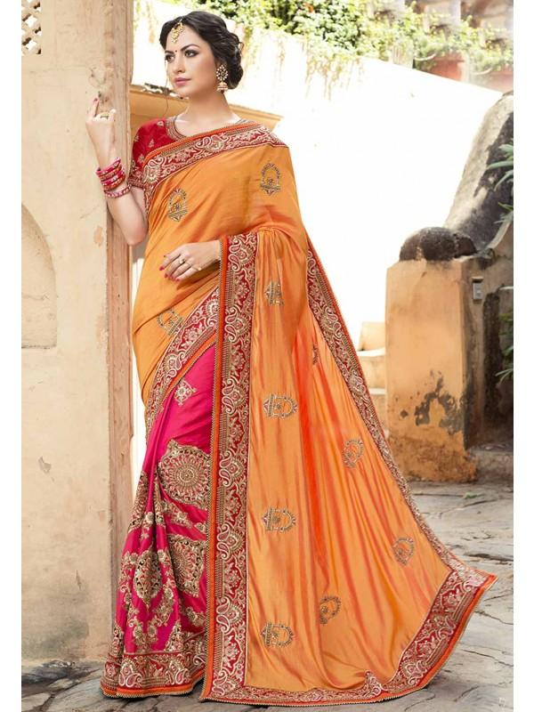 Orange,Peach Color Designer Bridal Saree