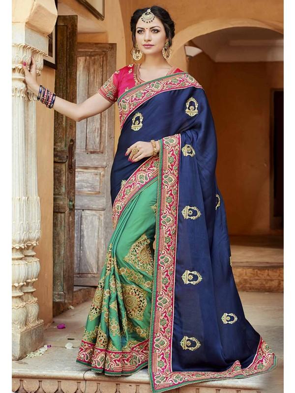Classic Looking Blue,Green Color & Satin,Silk Saree