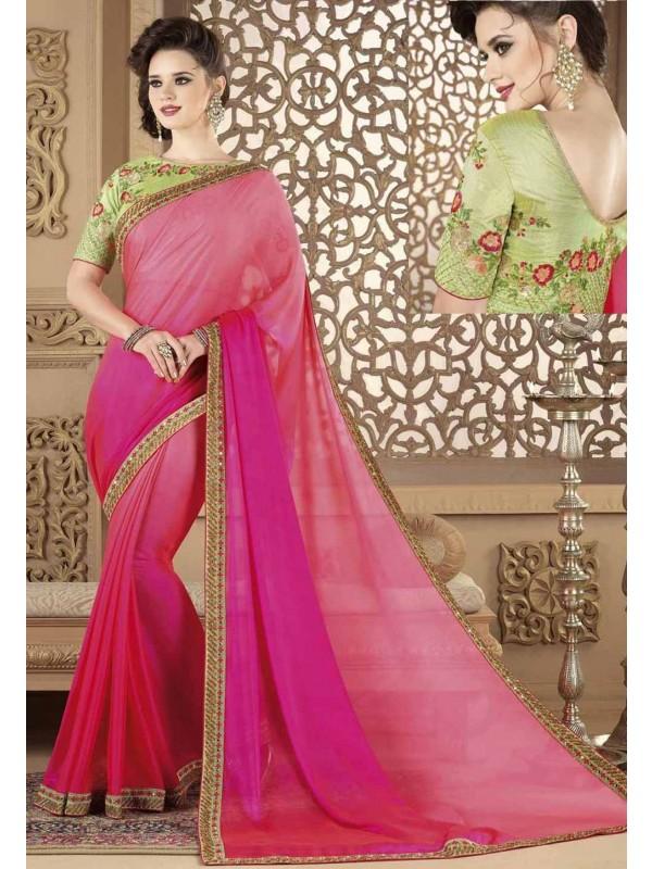 Attractive Looking Pink Color Georgette Saree