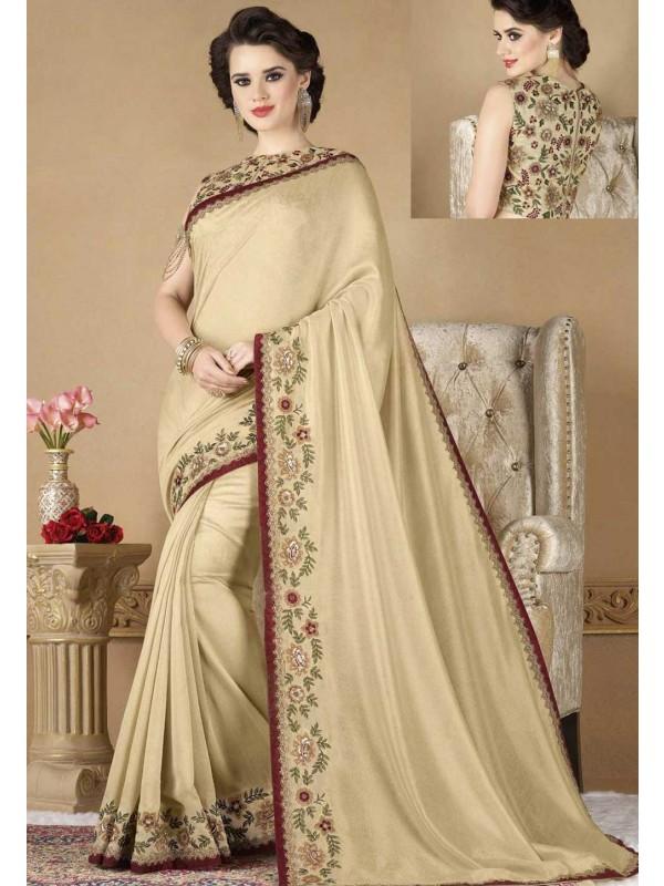 Nice Looking Cream Color Designer Saree