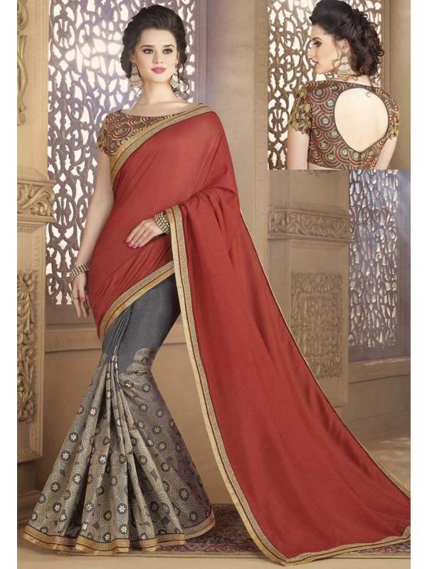 Grey,Brown Color Silk Saree
