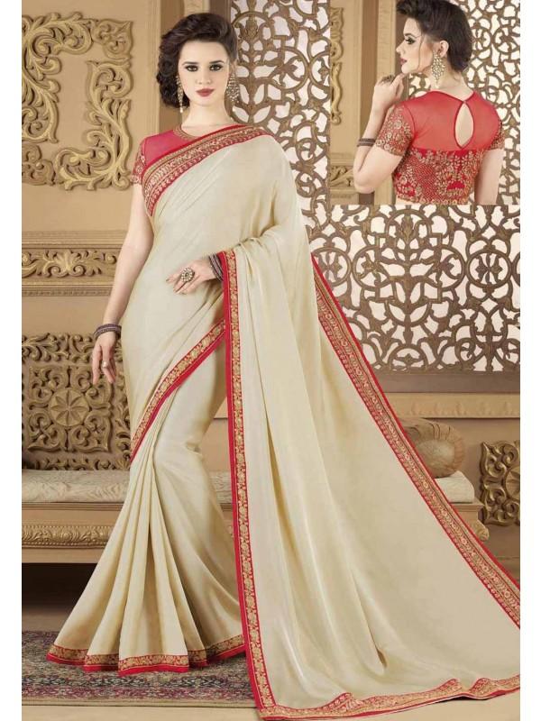 Beige Color Silk Designer Saree