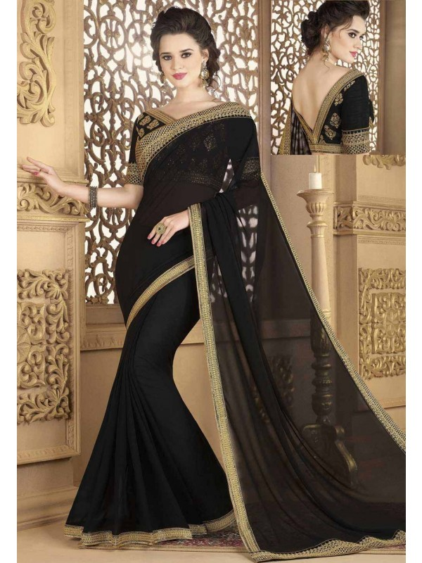 Party Wear Saree in Black Color & Georgette Fabric