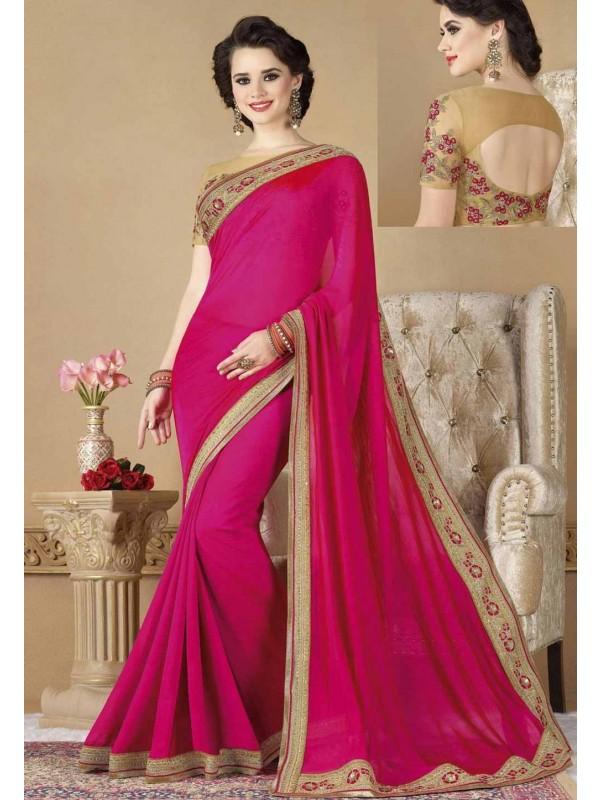 Designer Bridal Saree in Pink Color & Silk Fabric