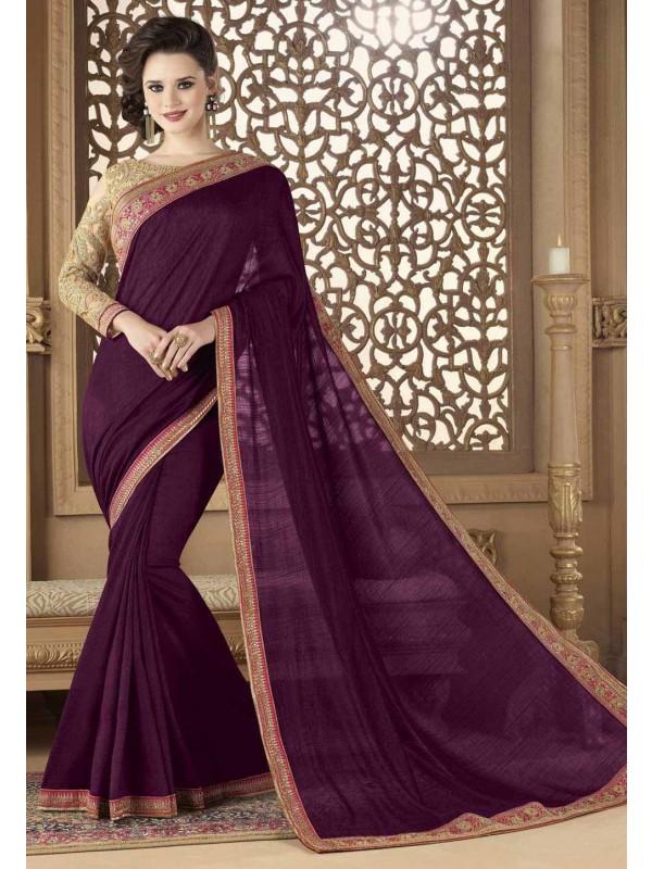 Designer Saree in Magenta Color & Silk Fabric