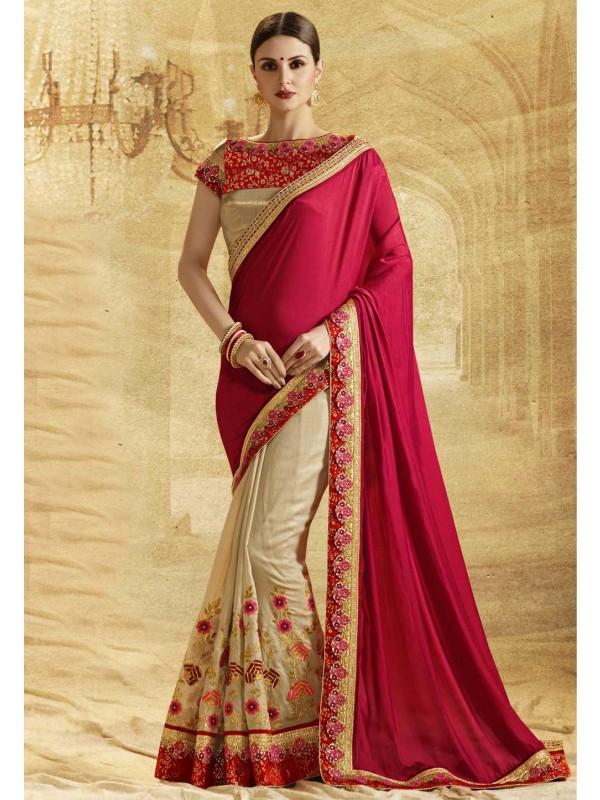 Beautiful Golden Color Chiffon Saree