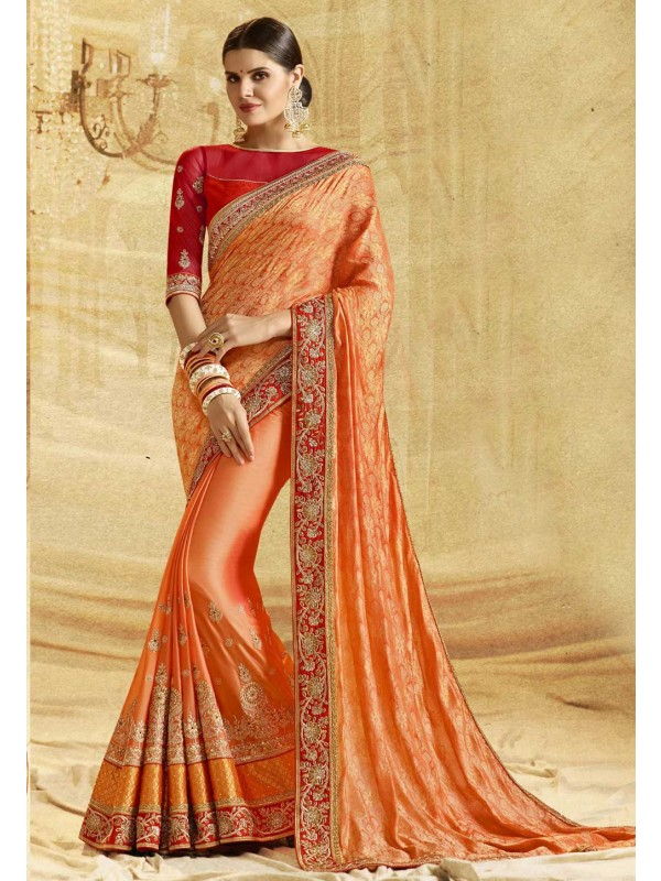 Traditional Look Orange Color Designer Saree