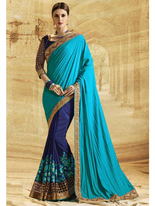 Blue Color Jacquard,Silk Saree