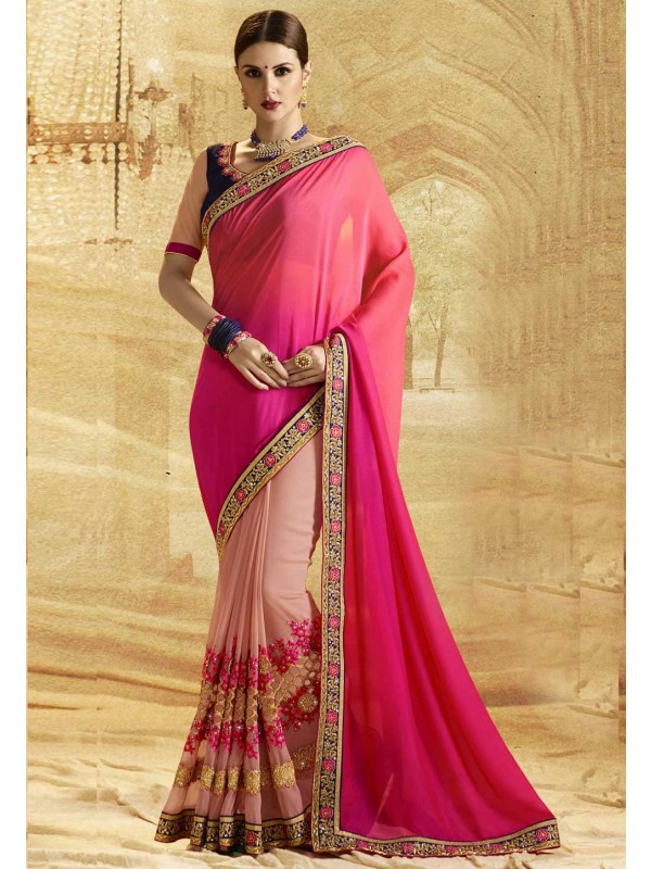 Classic Looking Pink,Peach Color Embroidered Saree