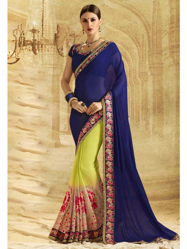 Nice Looking Green,Blue Color Embroidered Saree