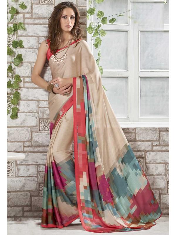 Cream Color Crepe Silk Casual Printed Saree