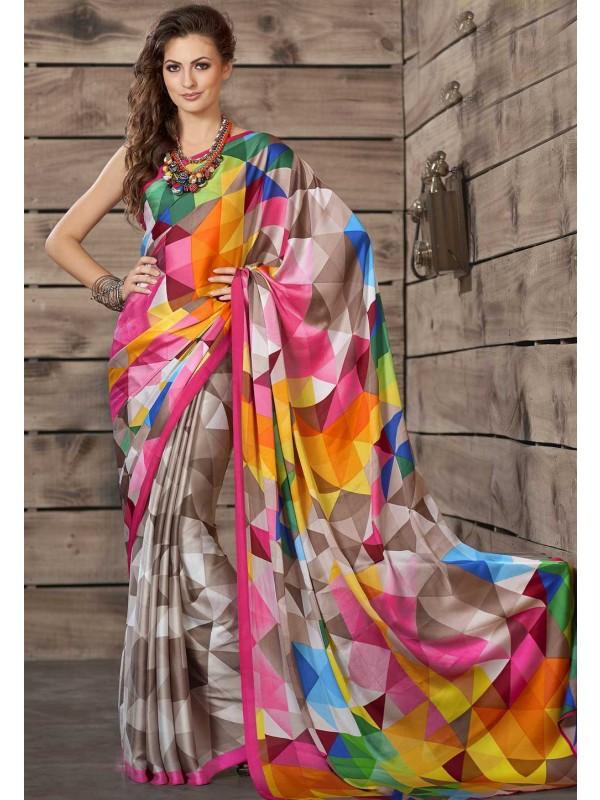 Multi Color Crepe Silk Printed Casual Saree