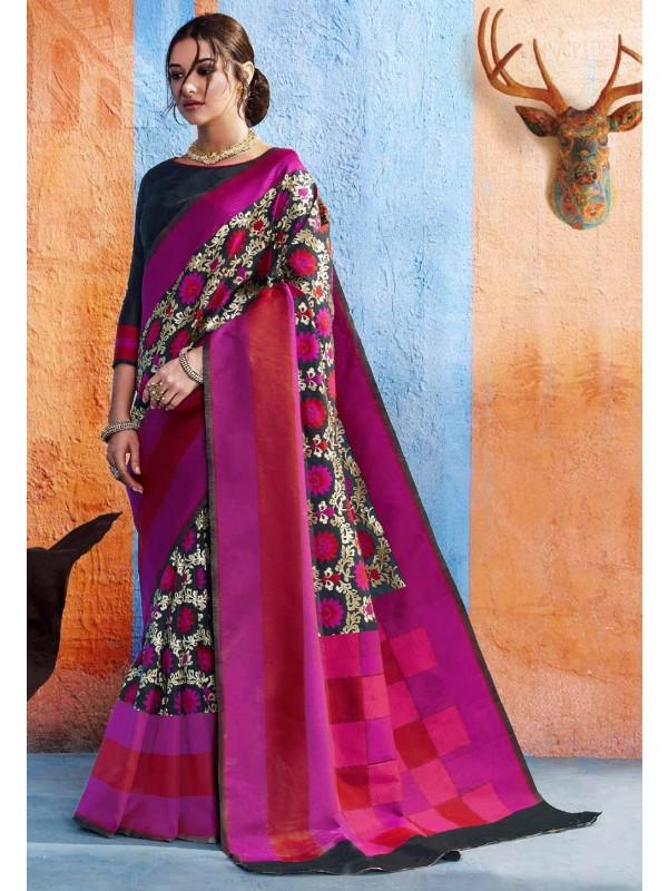 Pink,Blue Silk Party Wear Saree