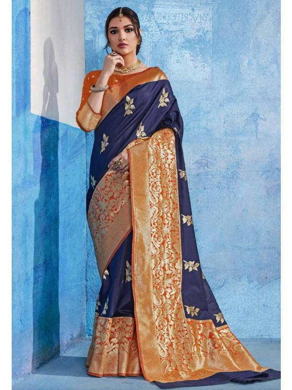 Nice Looking Blue-Orange Designer Party Wear saree