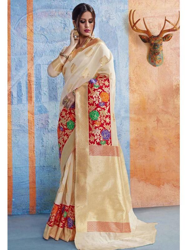 Cream Silk Party Wear Saree