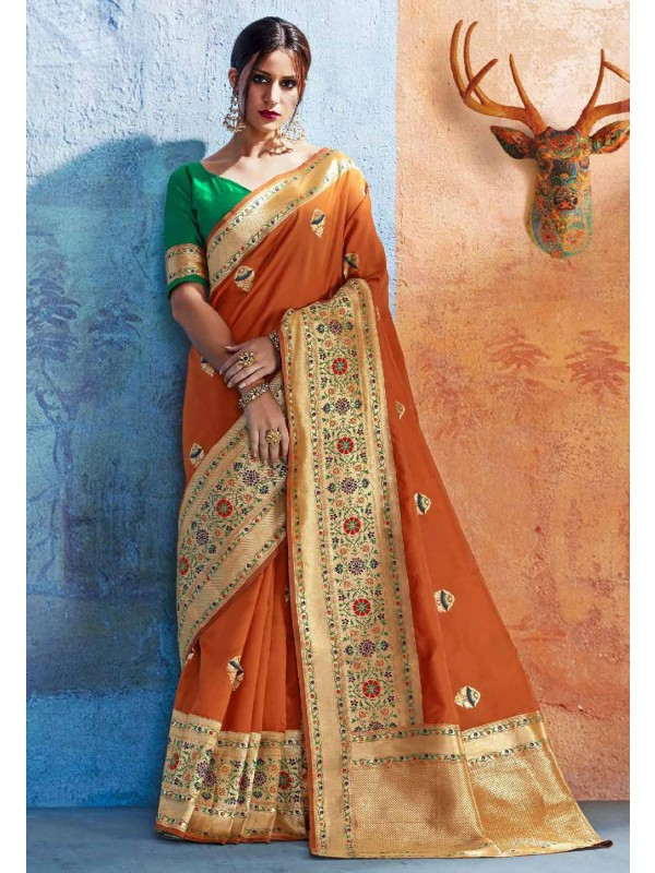 Orange Silk Traditional Party Wear Saree