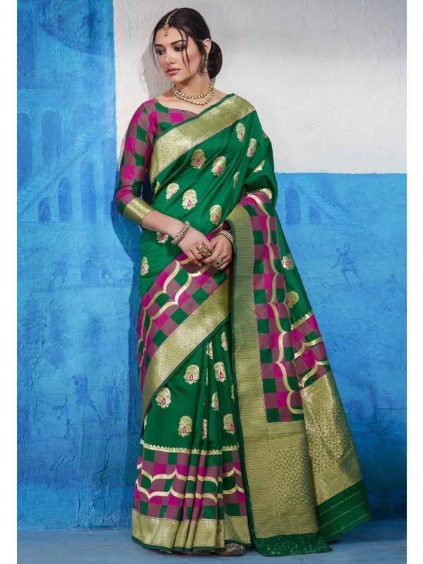 Green Silk Designer Indian Saree