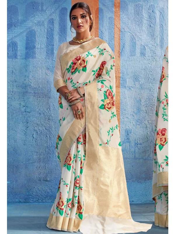 Beautiful Cream Silk Traditional Saree