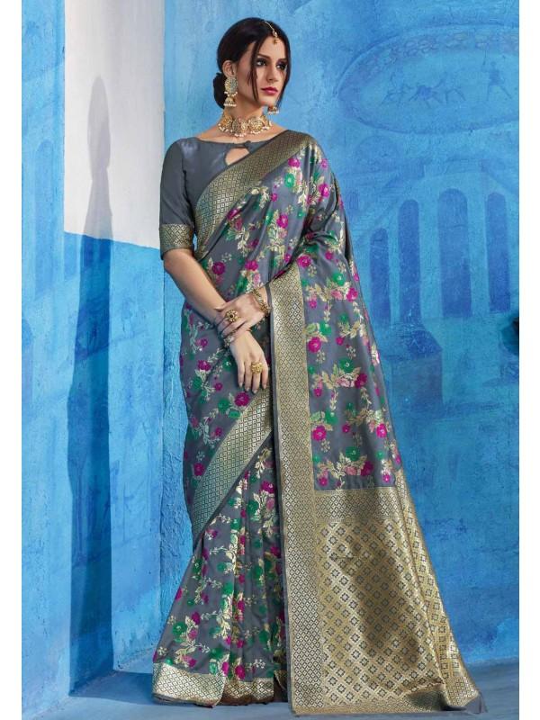 Attractive Looking Grey Silk Sareee