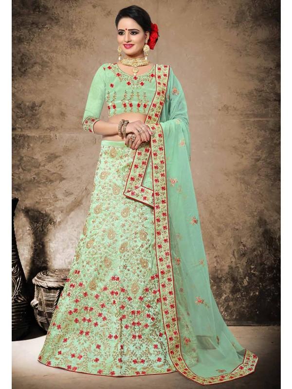 Green Color Silk Fabric Designer Lehenga Choli in Resham,Zari,Stone Work