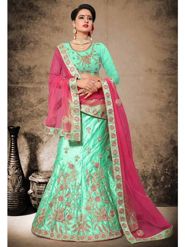Traditional Look Green Color Velvet,Satin Lehenga Choli in Resham,Zari Work