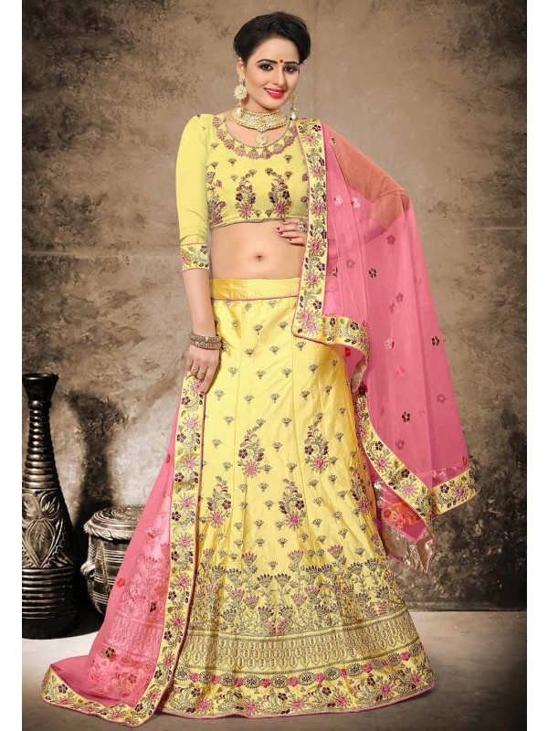 Yellow Color Velvet,Satin Designer Bridal Lehenga Choli in Resham,Zari,Stone Work