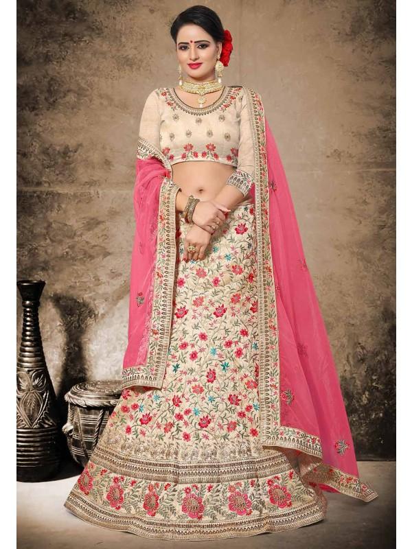 Beige Color Silk Fabric Wedding Lehenga Choli in Resham,Zari,Stone Work