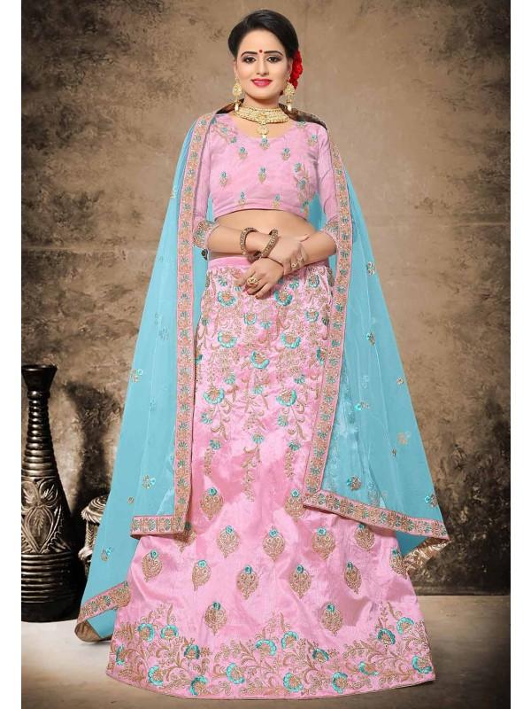 Silk Designer Lehenga Choli in Pink Color & Resham,Zari,Stone Work
